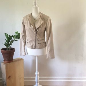 Forever 21 cream faux leather jacket.